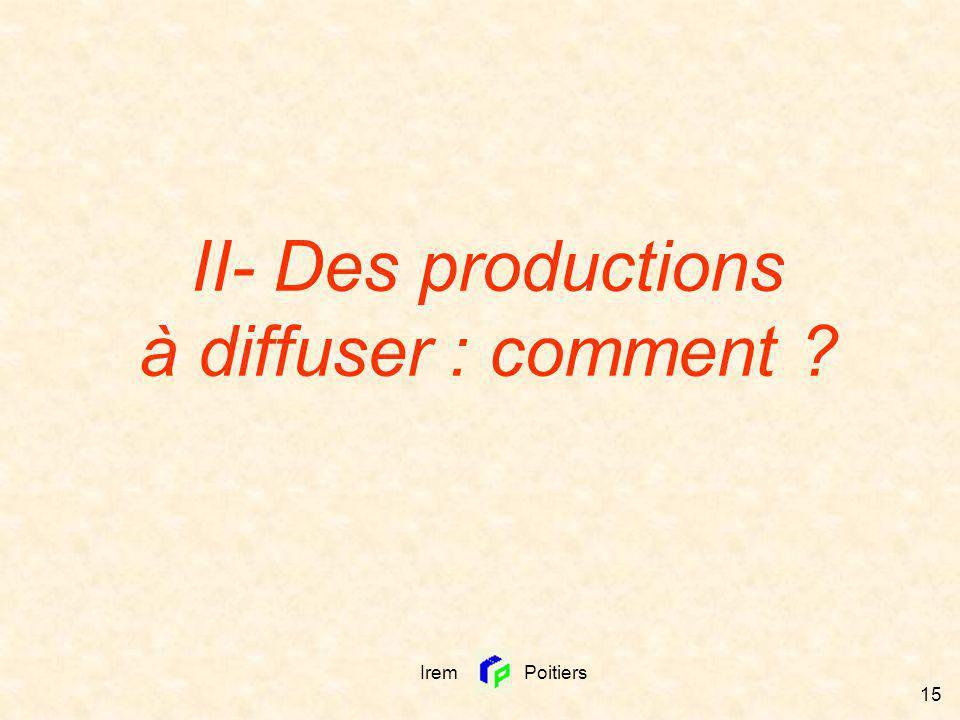 II- Des productions à diffuser : comment
