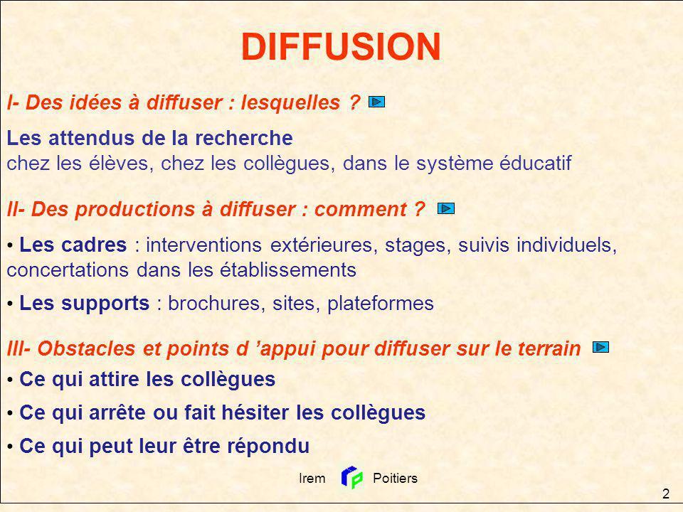 DIFFUSION I- Des idées à diffuser : lesquelles
