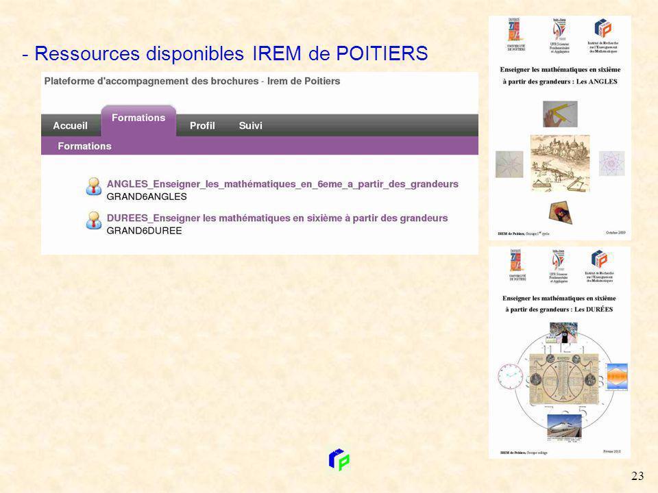 - Ressources disponibles IREM de POITIERS