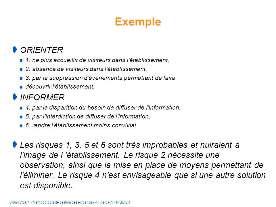 Exemple ORIENTER INFORMER