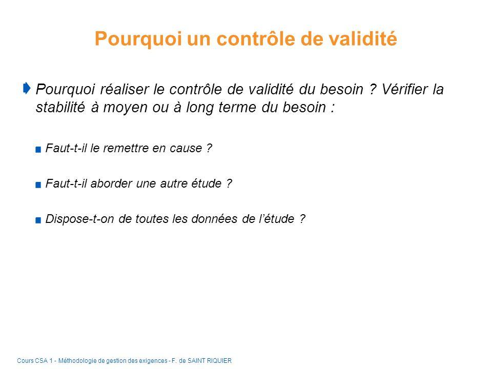 Pourquoi un contrôle de validité