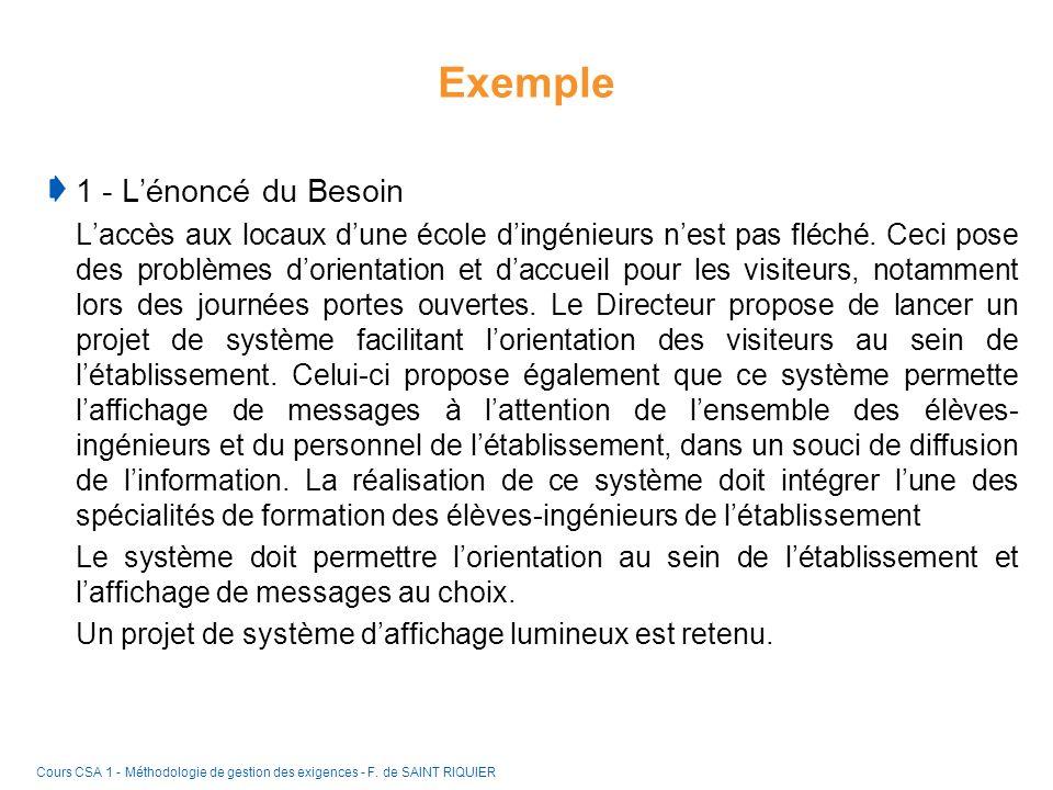 Exemple 1 - L'énoncé du Besoin