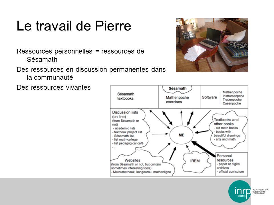 Le travail de Pierre Ressources personnelles = ressources de Sésamath