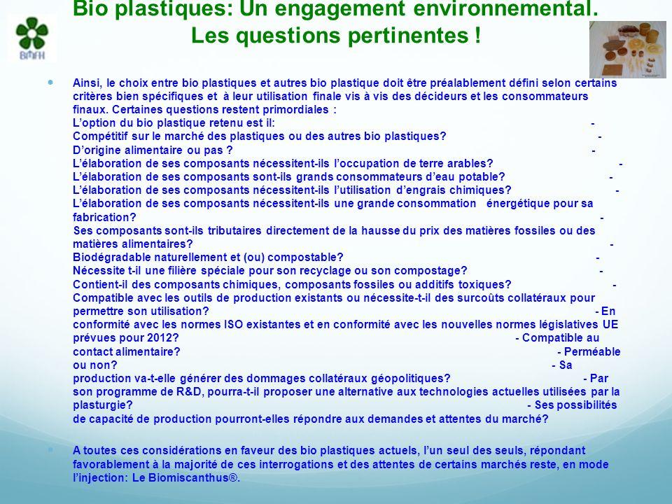 Bio plastiques: Un engagement environnemental