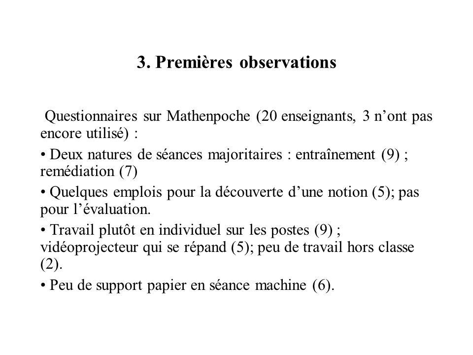 3. Premières observations