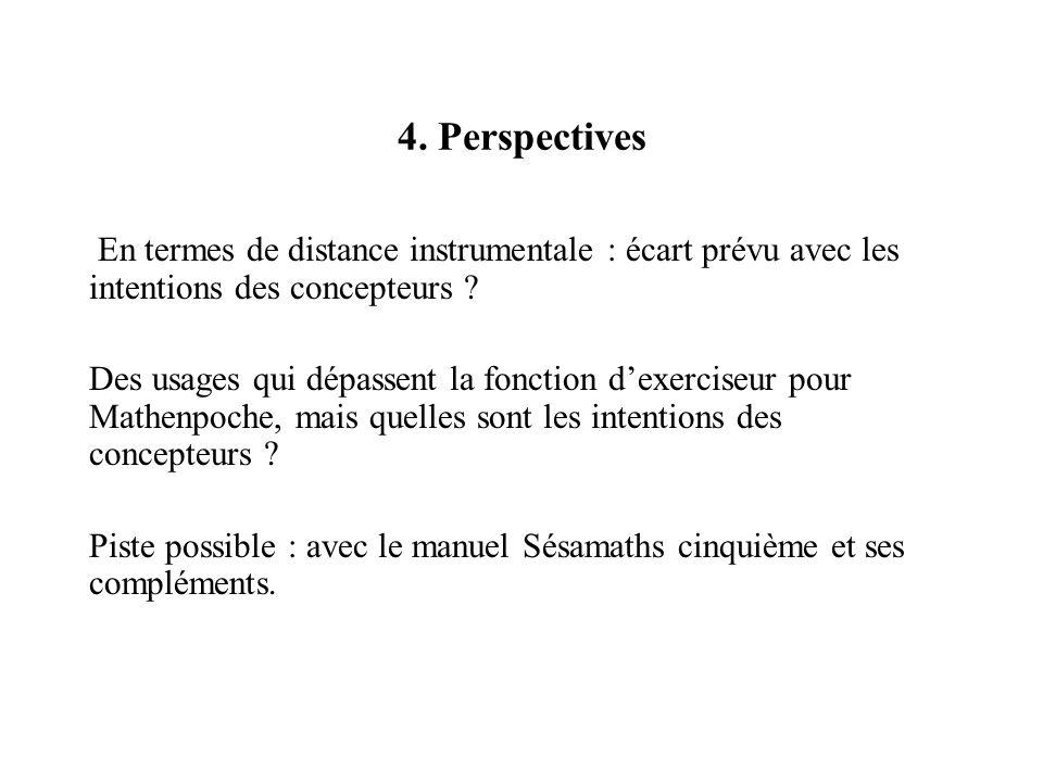 4. Perspectives En termes de distance instrumentale : écart prévu avec les intentions des concepteurs