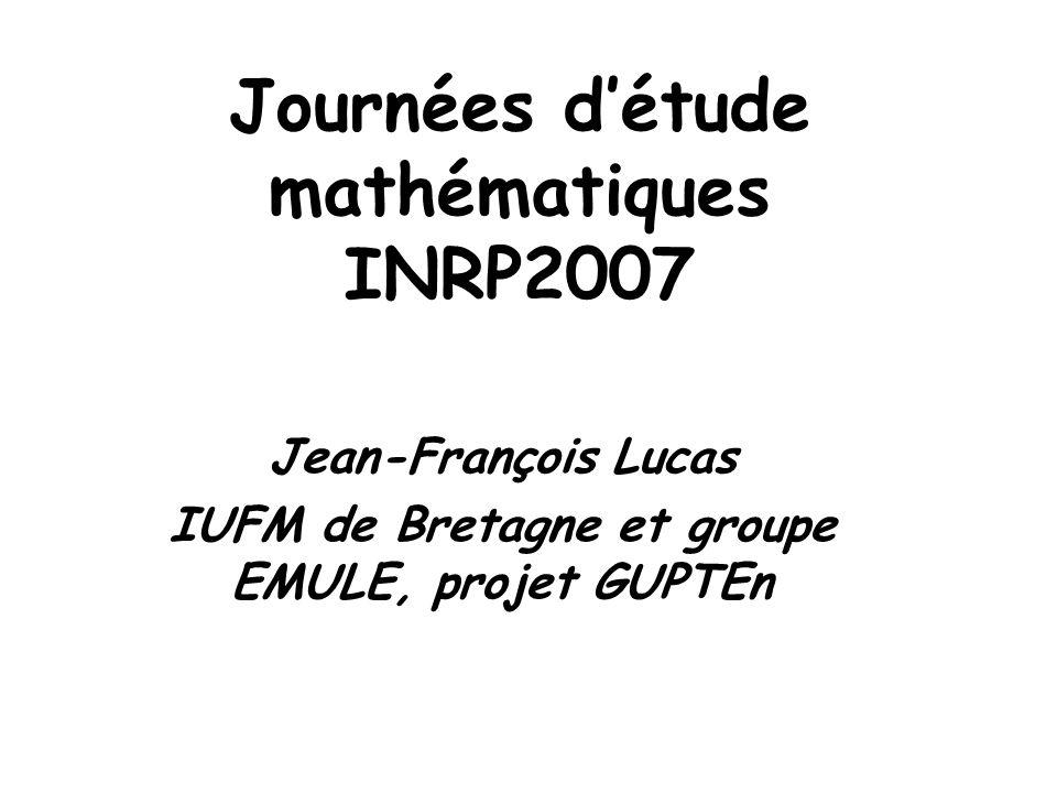 Journées d'étude mathématiques INRP2007