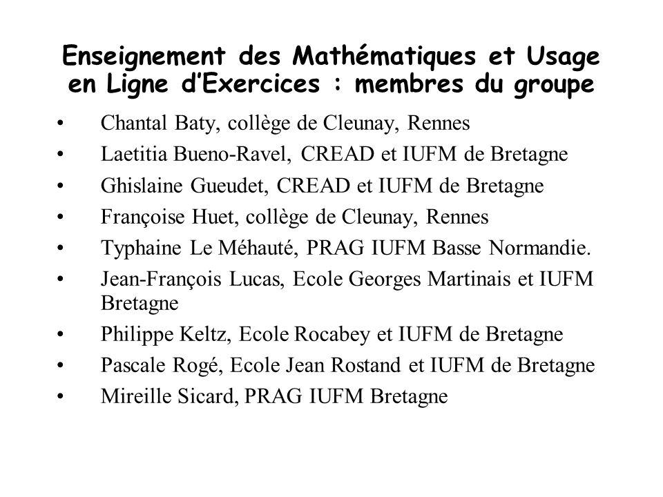 Enseignement des Mathématiques et Usage en Ligne d'Exercices : membres du groupe