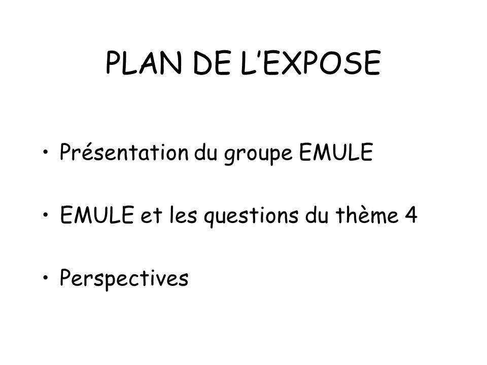 PLAN DE L'EXPOSE Présentation du groupe EMULE
