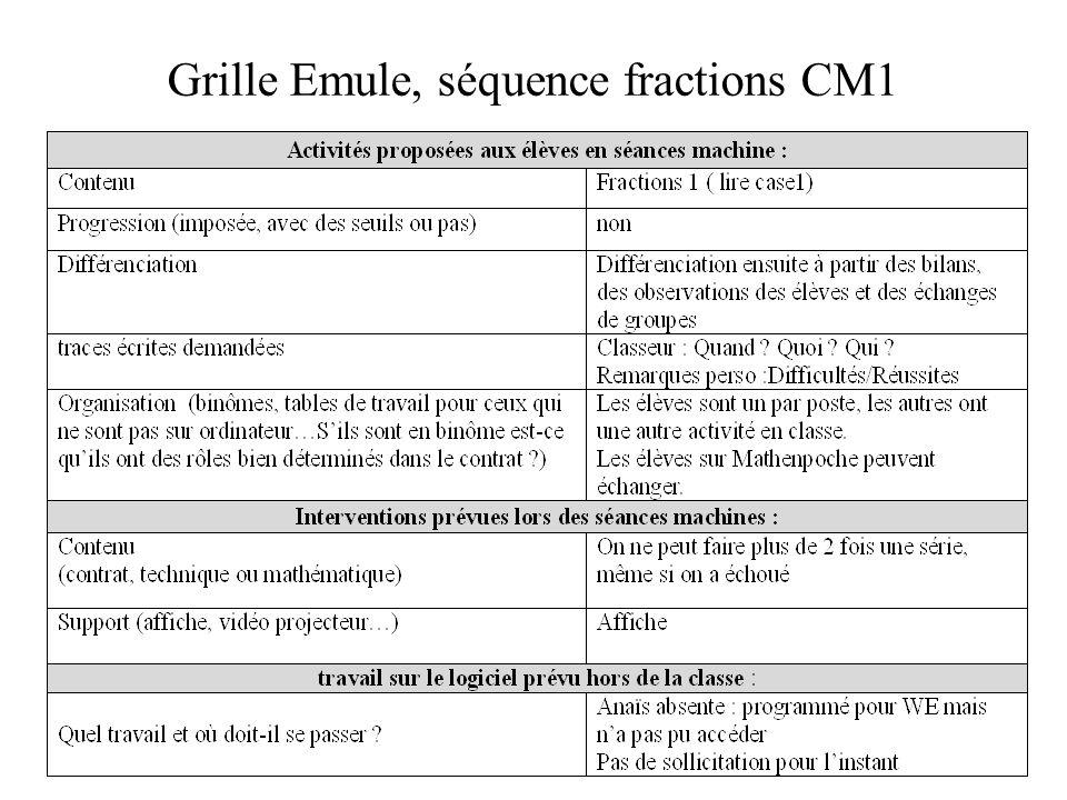Grille Emule, séquence fractions CM1