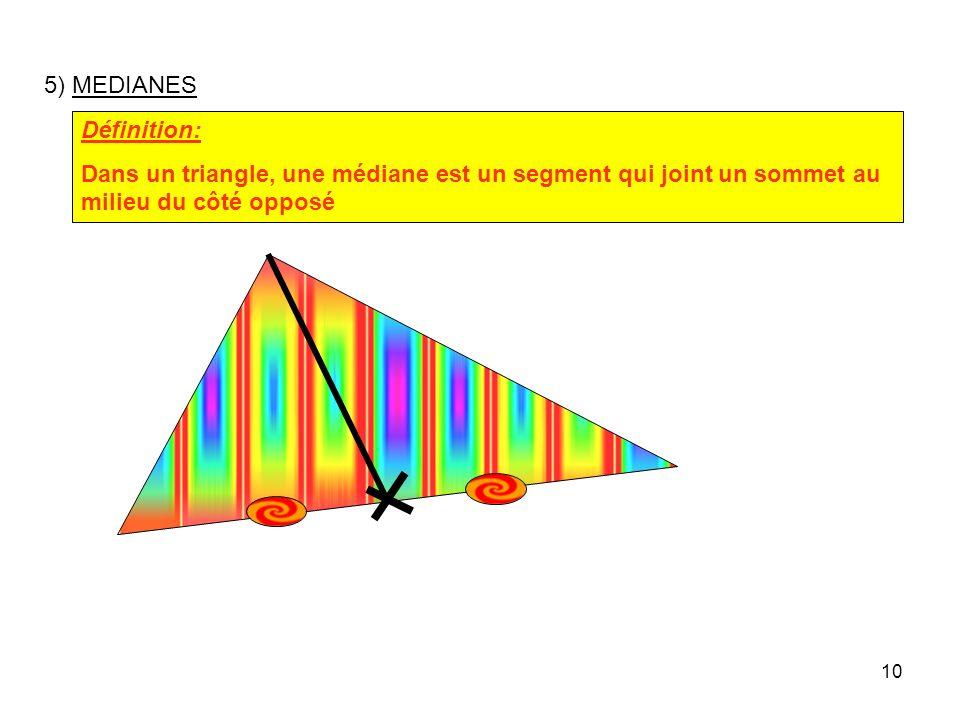 5) MEDIANES Définition: Dans un triangle, une médiane est un segment qui joint un sommet au milieu du côté opposé.
