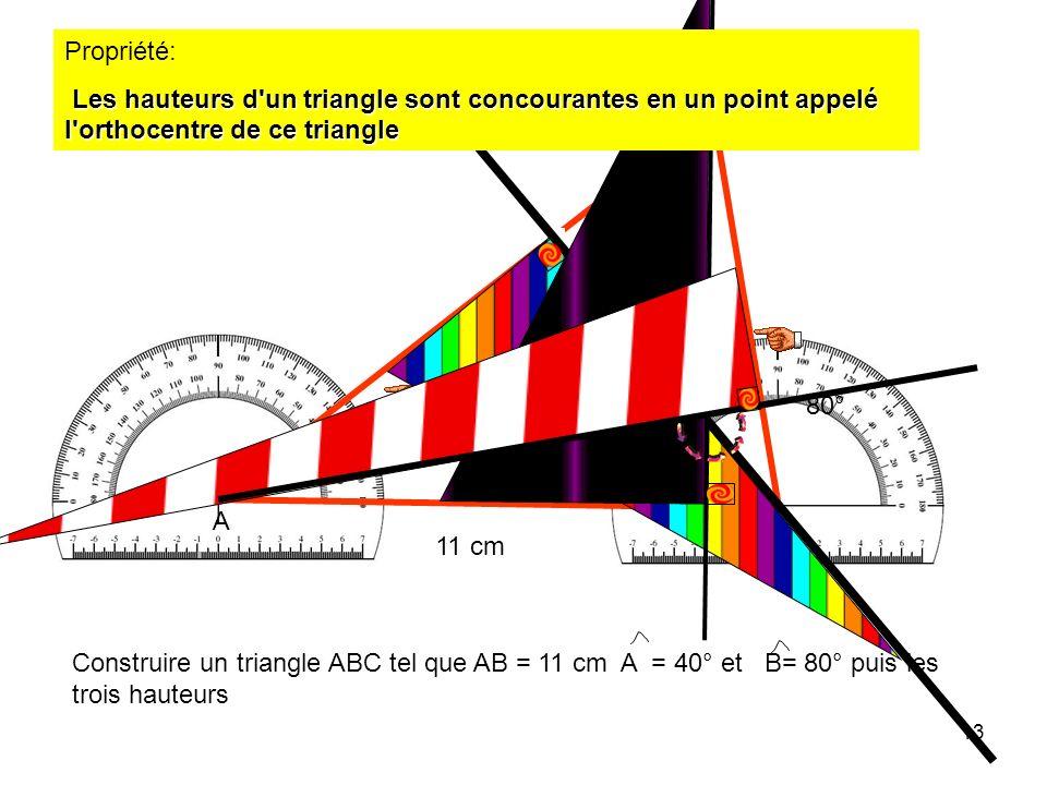 Propriété: Les hauteurs d un triangle sont concourantes en un point appelé l orthocentre de ce triangle.