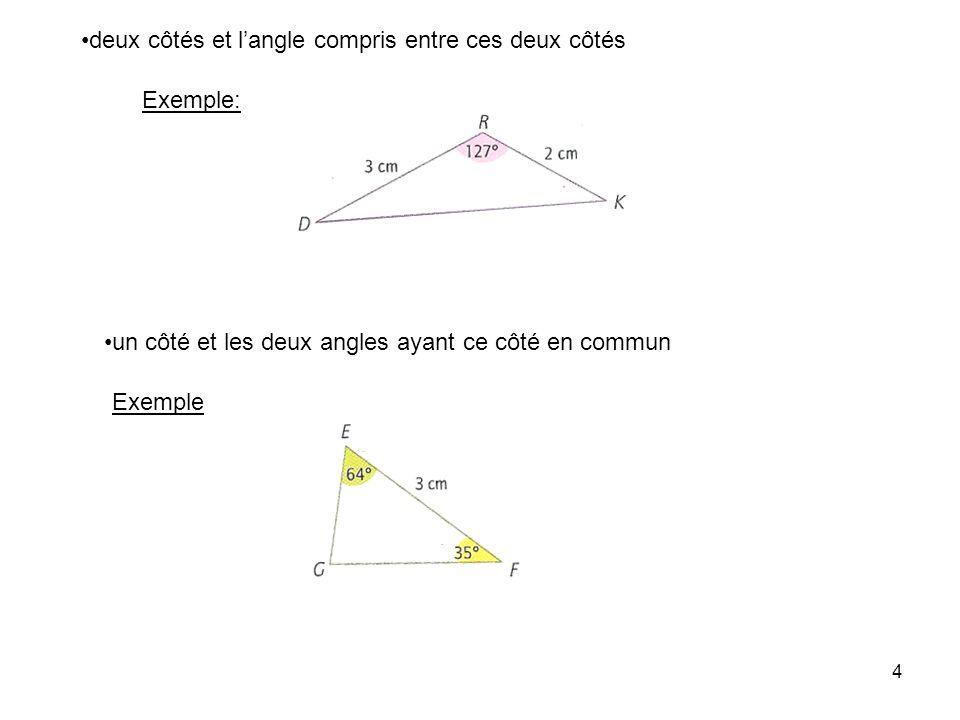 deux côtés et l'angle compris entre ces deux côtés