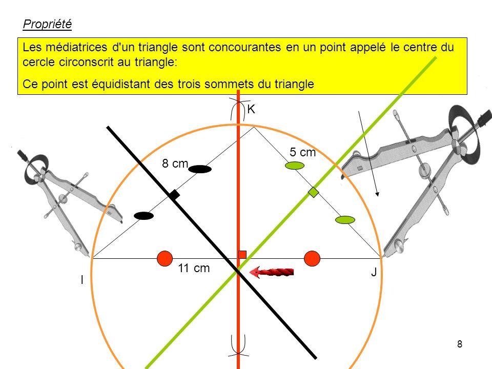 Propriété Les médiatrices d un triangle sont concourantes en un point appelé le centre du cercle circonscrit au triangle: