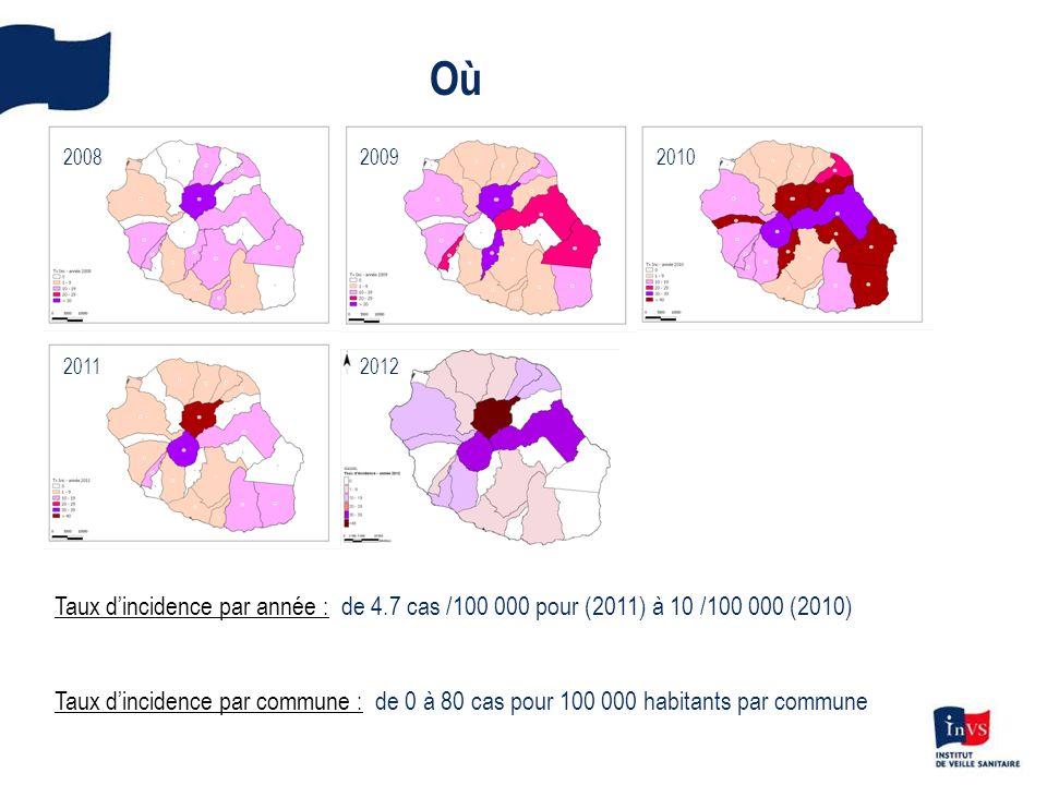 Où 2008. 2009. 2010. 2011. 2012. Taux d'incidence par année : de 4.7 cas /100 000 pour (2011) à 10 /100 000 (2010)