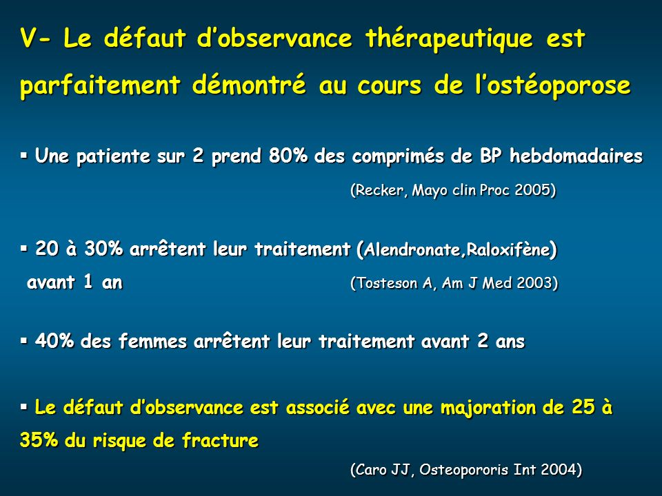 V- Le défaut d'observance thérapeutique est parfaitement démontré au cours de l'ostéoporose