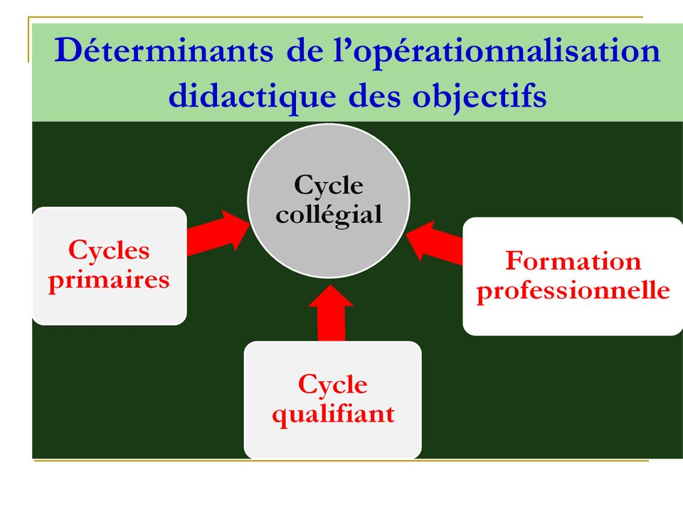 Déterminants de l'opérationnalisation didactique des objectifs