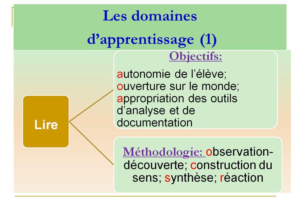 Les domaines d'apprentissage (1)