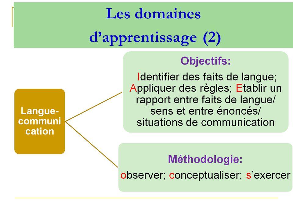 Les domaines d'apprentissage (2)