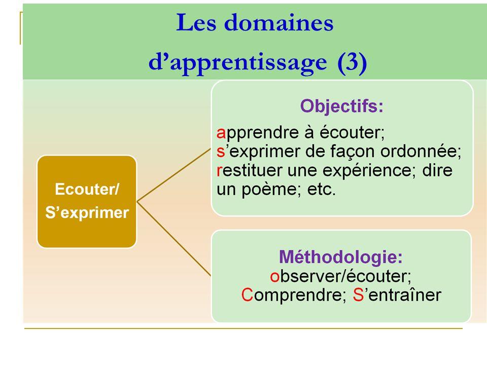 Les domaines d'apprentissage (3)