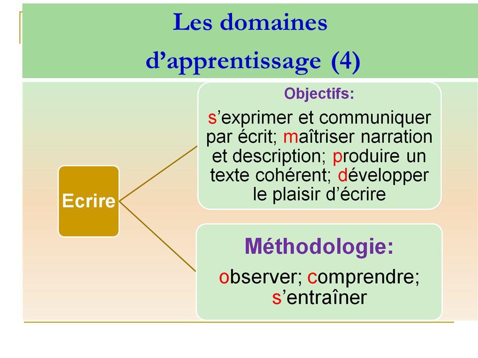 Les domaines d'apprentissage (4)