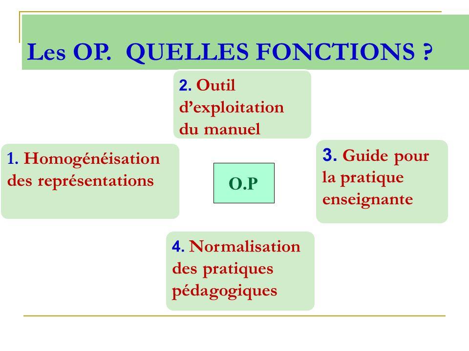 Les OP. QUELLES FONCTIONS