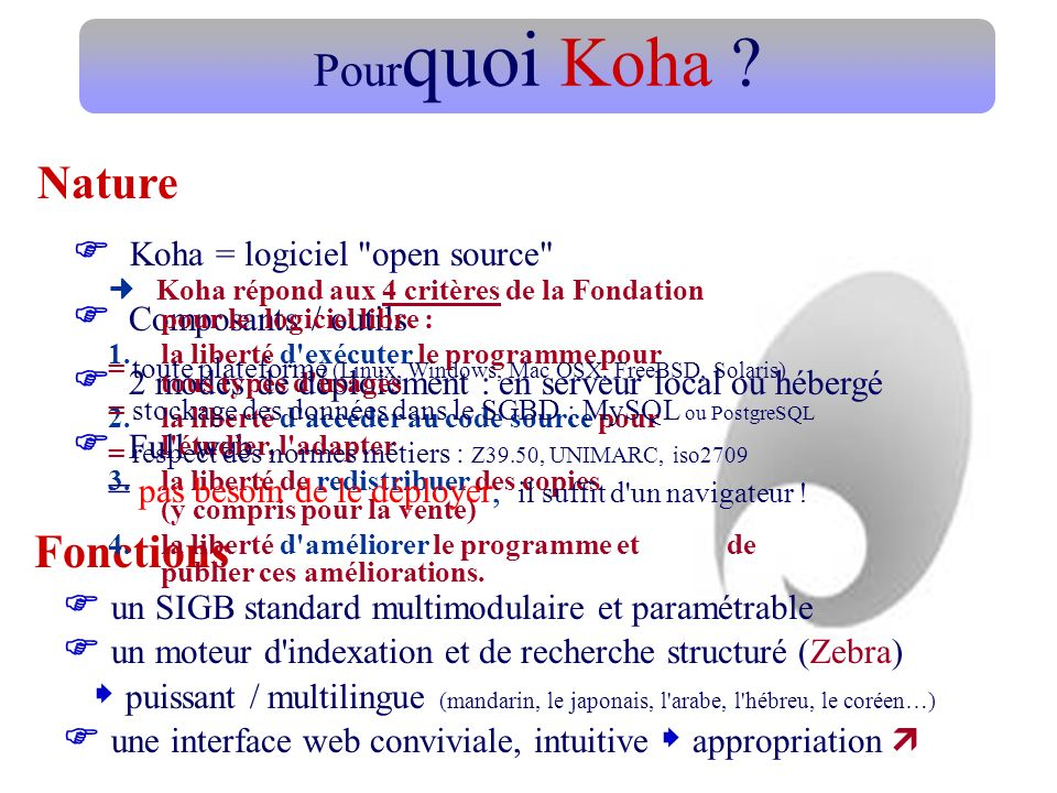 Pourquoi Koha Nature  Composants / outils Fonctions
