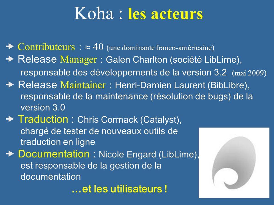 Koha : les acteurs  Contributeurs :  40 (une dominante franco-américaine)  Release Manager : Galen Charlton (société LibLime),