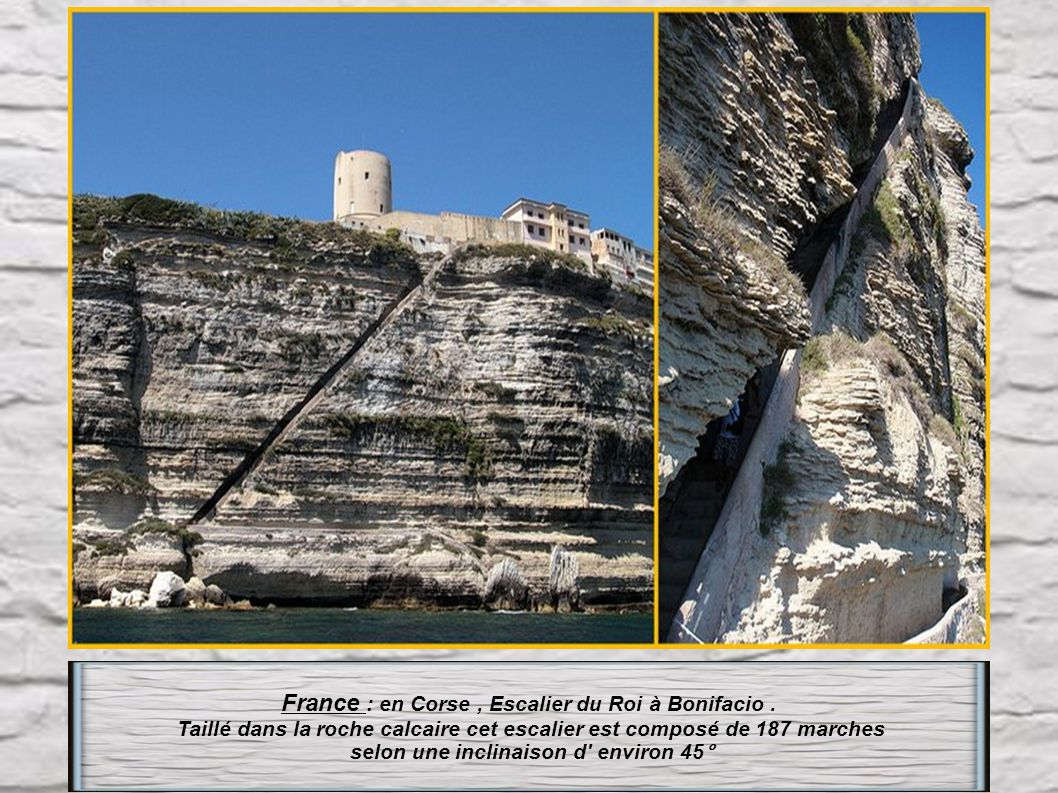 France : en Corse , Escalier du Roi à Bonifacio .