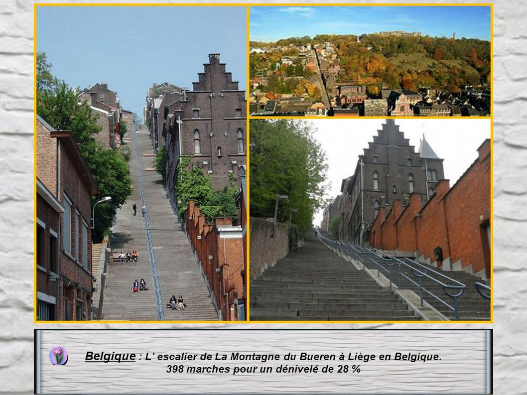 Belgique : L escalier de La Montagne du Bueren à Liège en Belgique.