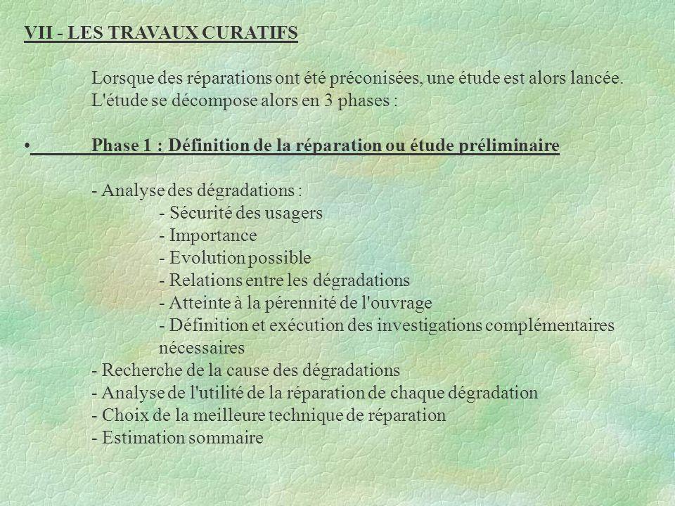 VII - LES TRAVAUX CURATIFS