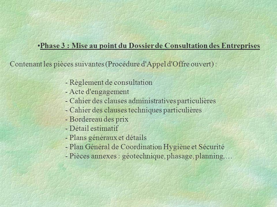 Phase 3 : Mise au point du Dossier de Consultation des Entreprises