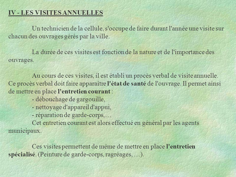 IV - LES VISITES ANNUELLES
