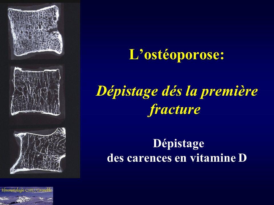 L'ostéoporose: Dépistage dés la première fracture Dépistage des carences en vitamine D