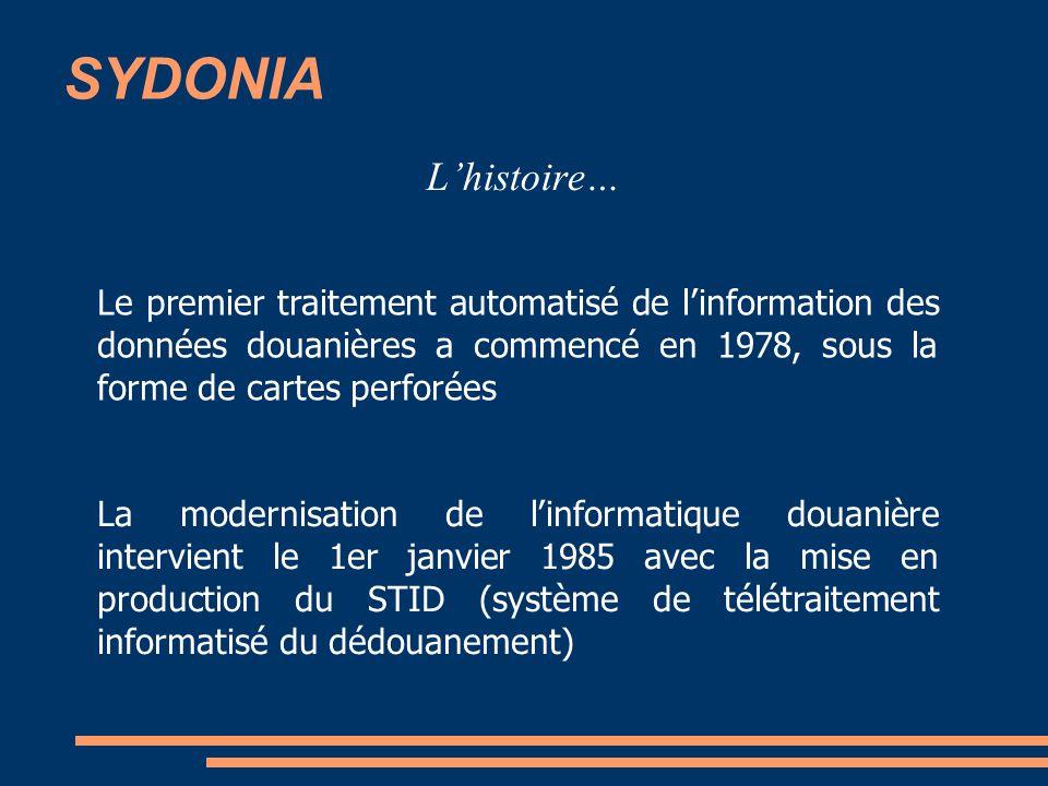 SYDONIA L'histoire… Le premier traitement automatisé de l'information des données douanières a commencé en 1978, sous la forme de cartes perforées.
