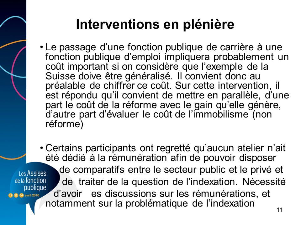 Interventions en plénière