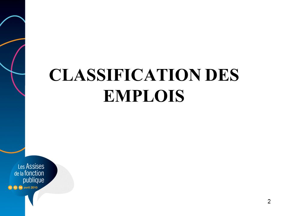 CLASSIFICATION DES EMPLOIS
