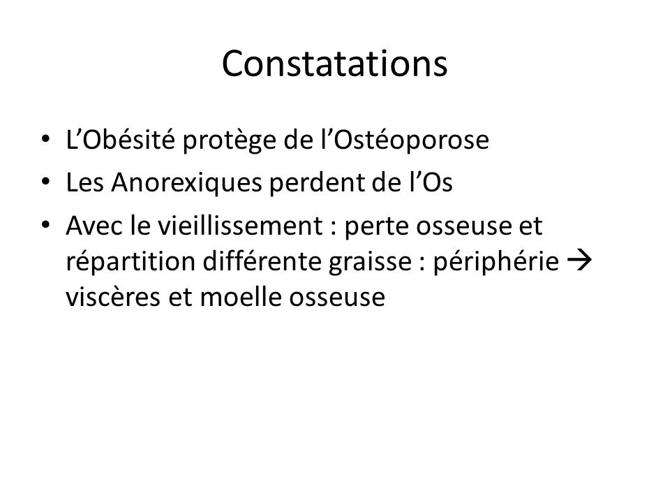 Constatations L'Obésité protège de l'Ostéoporose