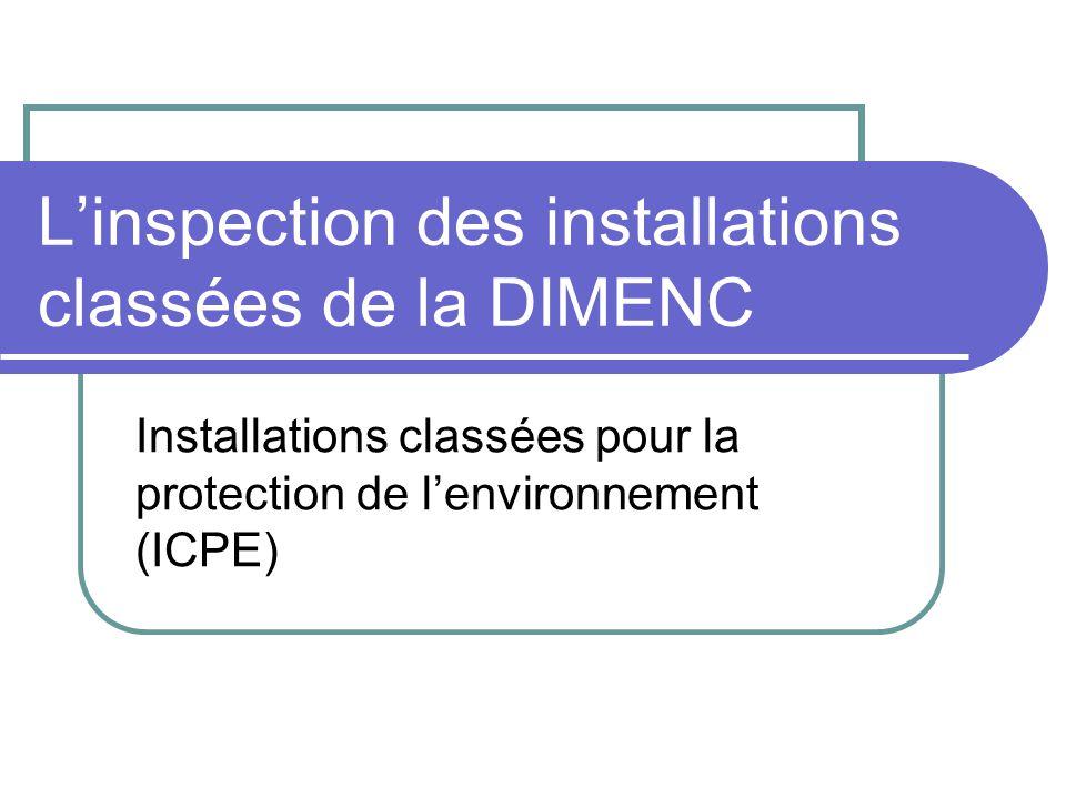 L'inspection des installations classées de la DIMENC