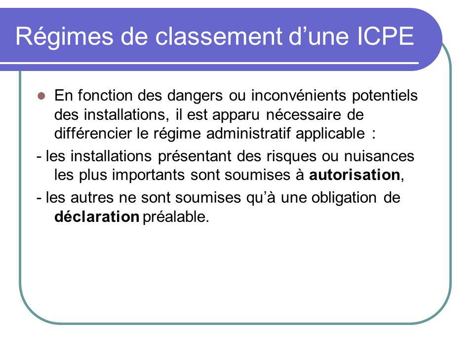 Régimes de classement d'une ICPE