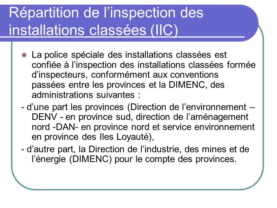 Répartition de l'inspection des installations classées (IIC)