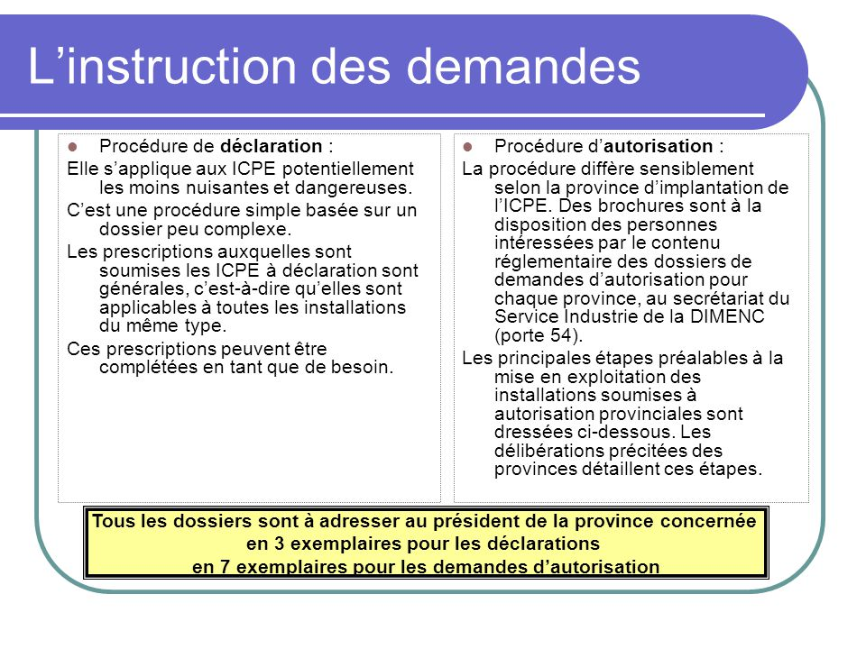 L'instruction des demandes