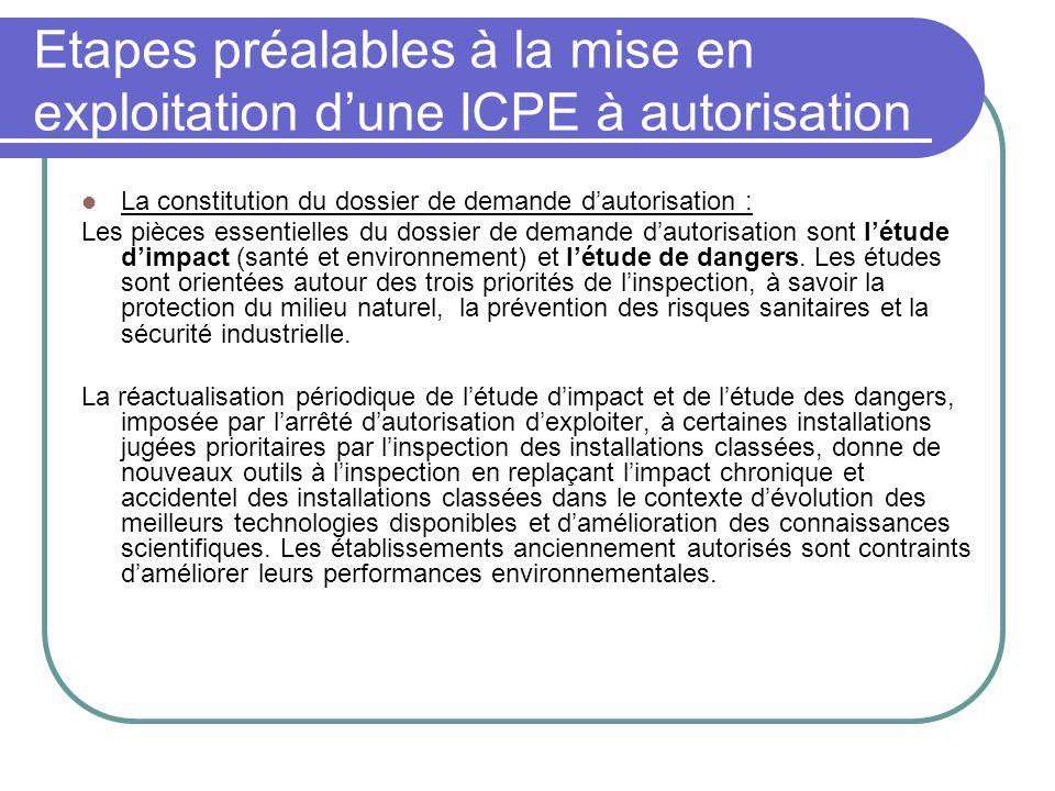 Etapes préalables à la mise en exploitation d'une ICPE à autorisation