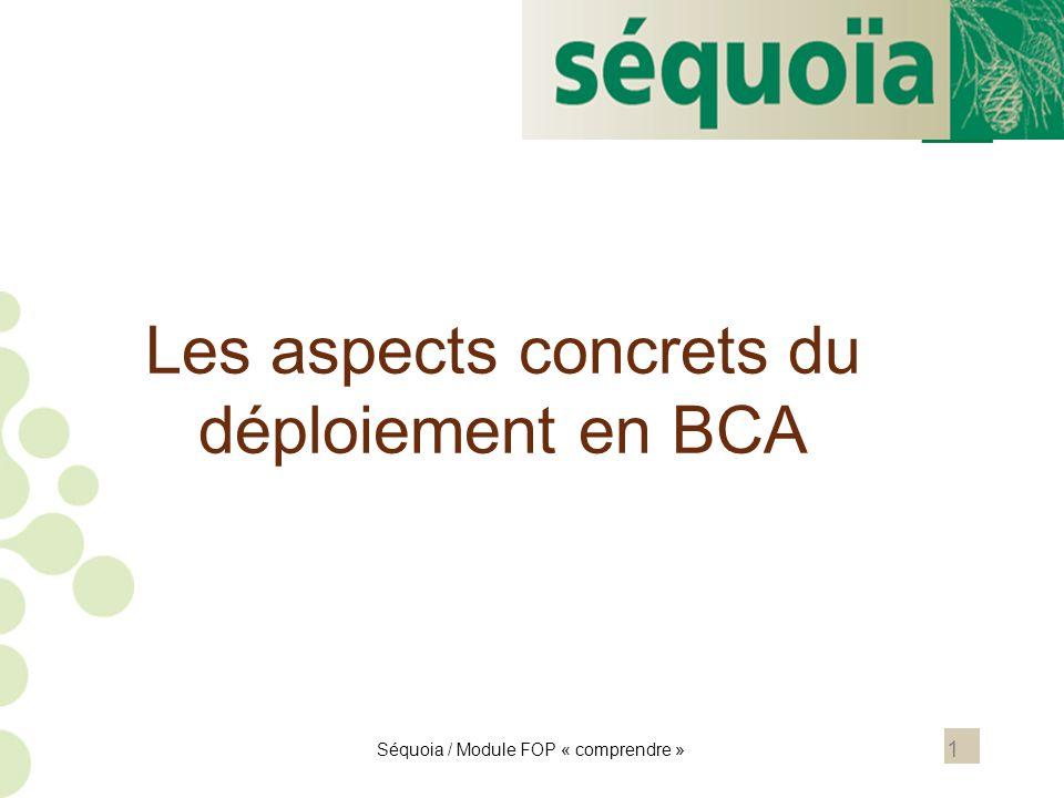 Les aspects concrets du déploiement en BCA