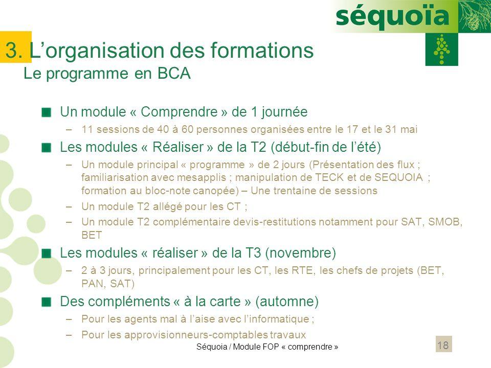 3. L'organisation des formations Le programme en BCA
