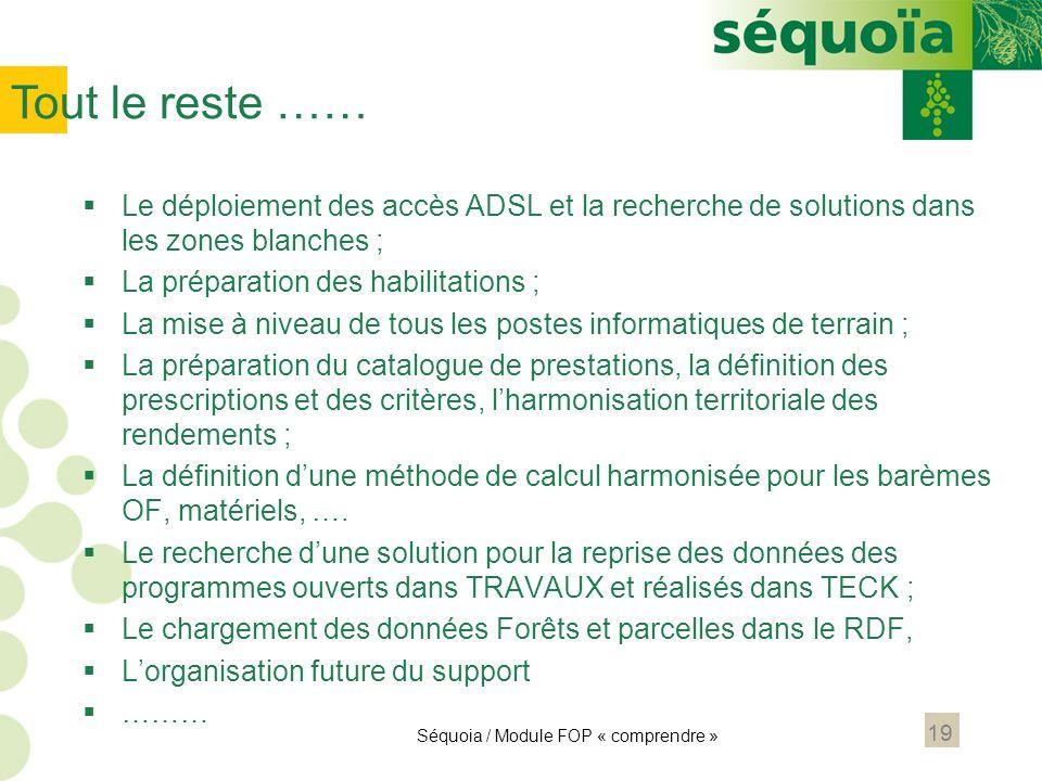 Tout le reste …… Le déploiement des accès ADSL et la recherche de solutions dans les zones blanches ;
