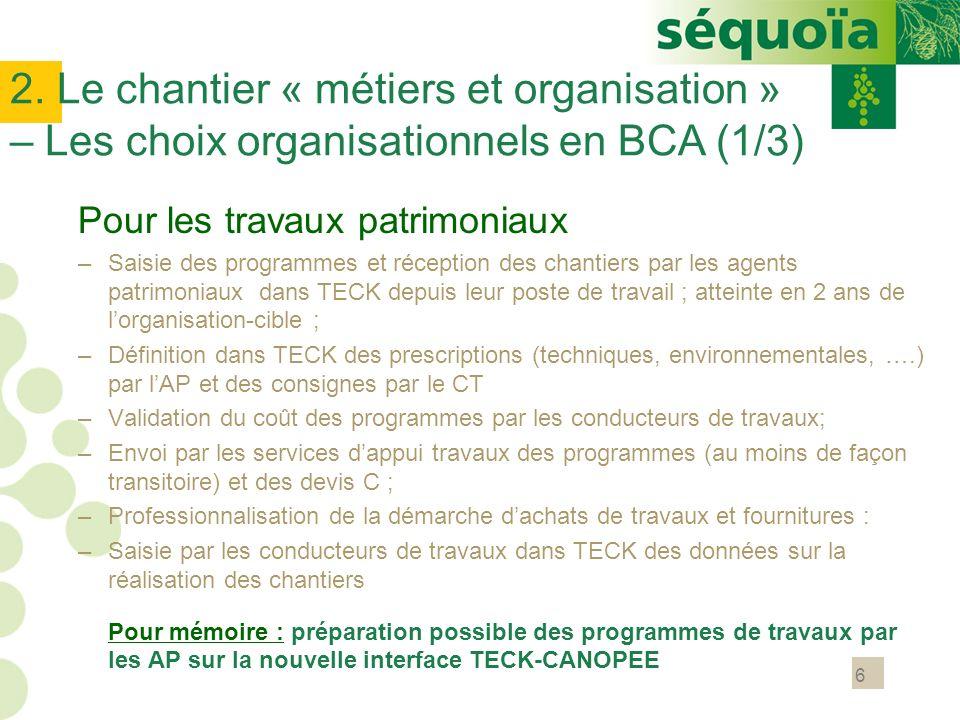 2. Le chantier « métiers et organisation » – Les choix organisationnels en BCA (1/3)