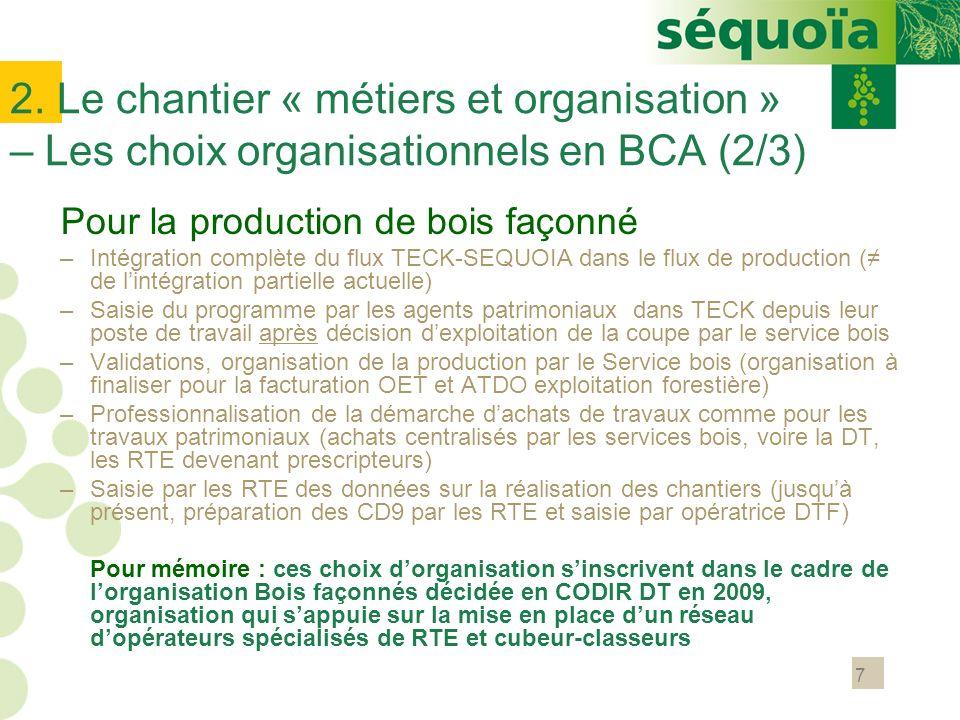 2. Le chantier « métiers et organisation » – Les choix organisationnels en BCA (2/3)