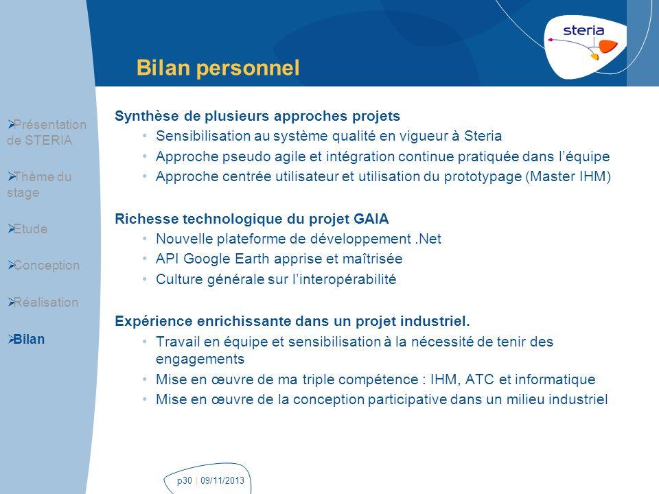 Bilan personnel Synthèse de plusieurs approches projets