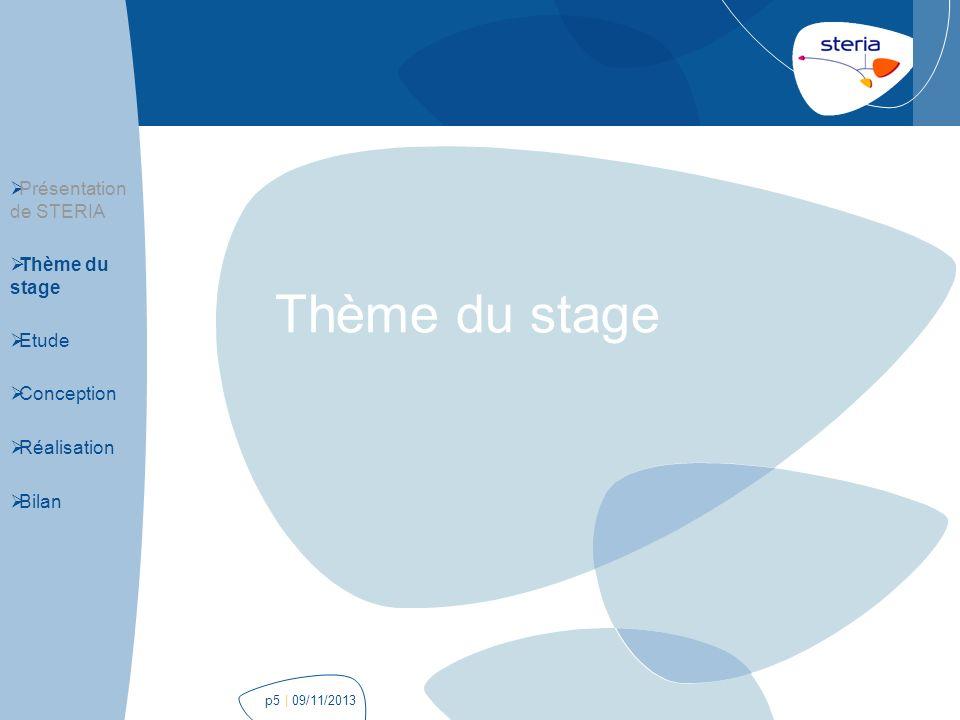 Thème du stage Présentation de STERIA Thème du stage Etude Conception